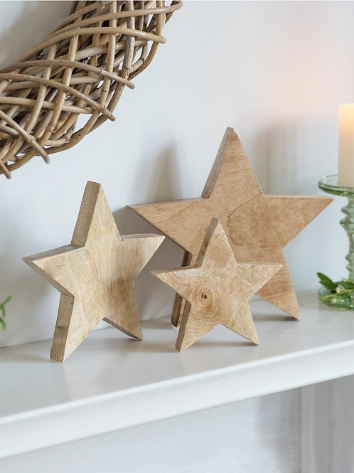 Mango Wood Set of 3 Decorative Stars