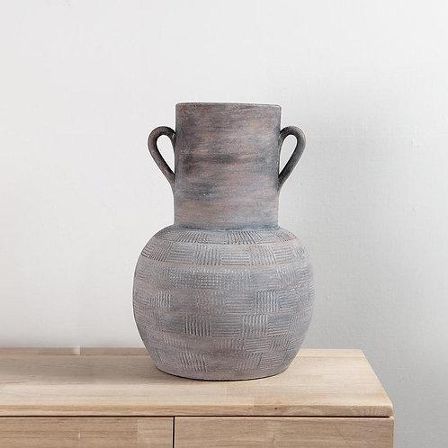 Dark Terracotta Vase with Handles