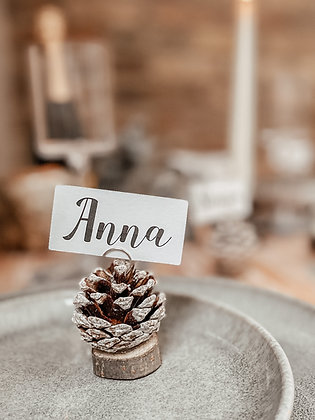 Personalised Pine Cone Christmas Table Name Place