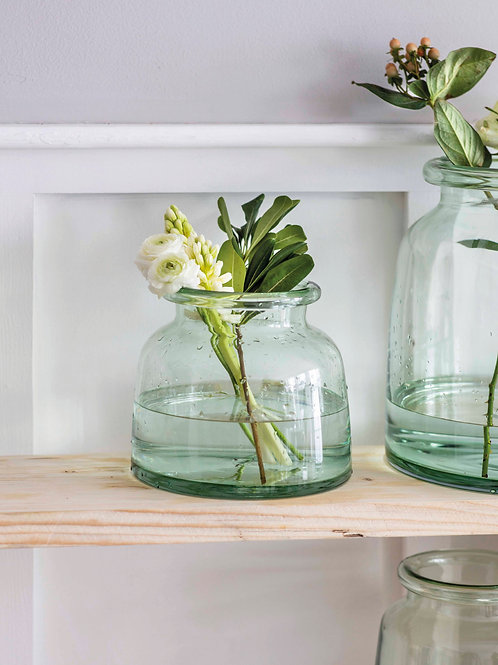 Chunky Vase Crafted in 100% Recycled Glass (Small)