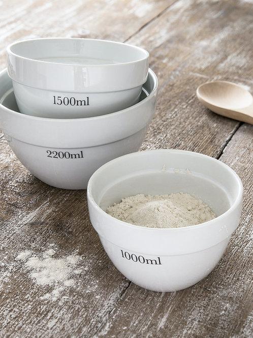 Rialto Set of 3 Porcelain Mixing Bowls - Garden Trading
