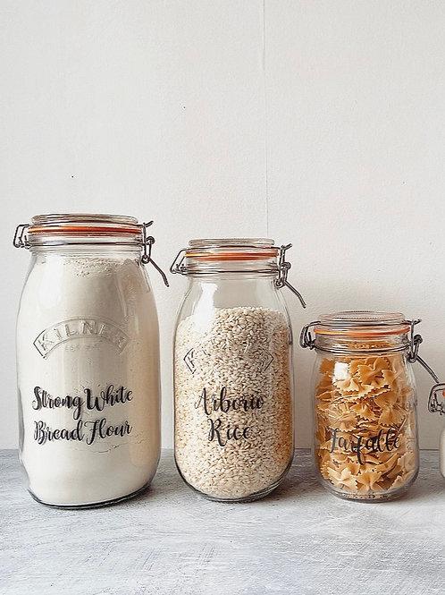 RYLE Labelled Pantry Clip Top Kilner Jars