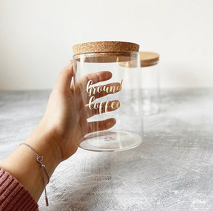 RYLE Labelled Glass Jar with Cork Lid