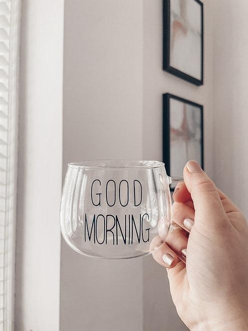 'Good Morning' 300ml Glass Mug