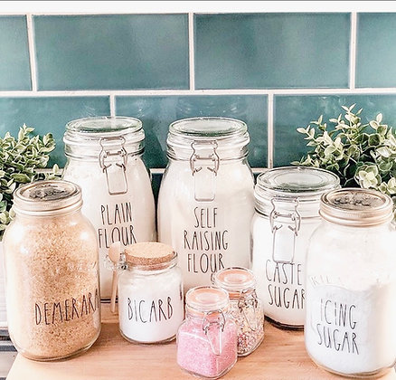 Set of 6 Pantry Labels - Font Leah (Rae Dunn Inspired)