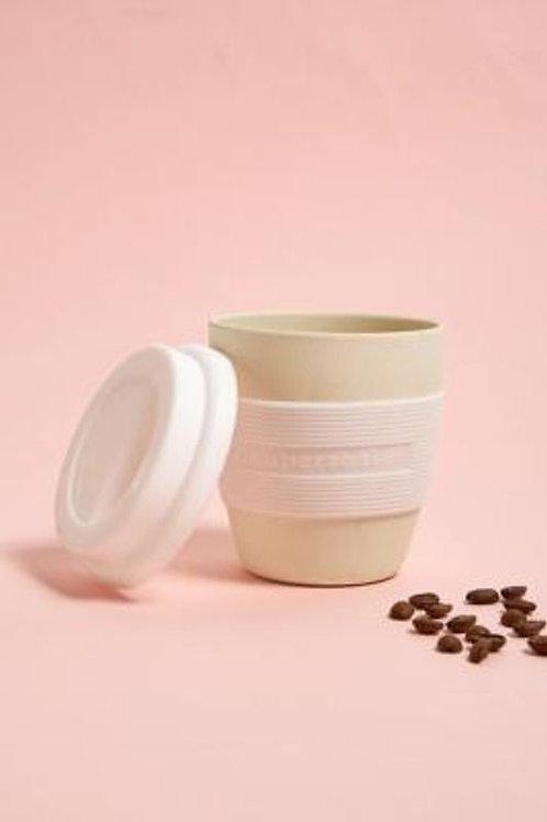 Zupersozial White Biodegradable Bamboo & Corn Mini Travel Mug