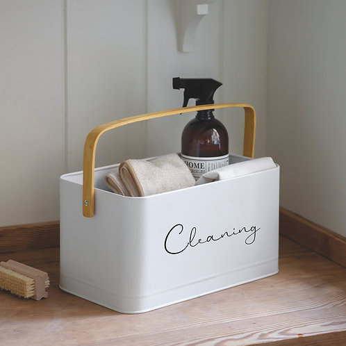 RYLE Priory Labelled Utility Storage Caddy with Bamboo Handle