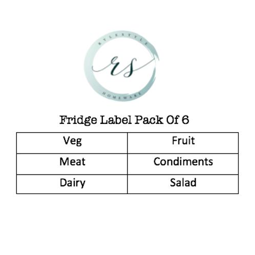 Fridge Label Pack of 6 Vinyl Decas (SIZE S/M)