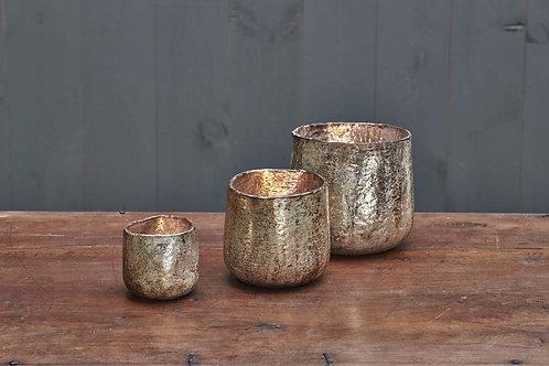 Aban Rustic Gold T-Light Candle Holders - Nkuku