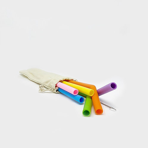 RYLE Colourful Reusable Straw Pack of 6 w/ Cleaning Brush & Cotton Bag