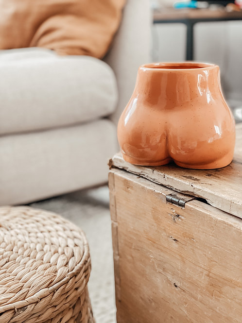 Speckled Ceramic Body Vase with Bamboo Base - TERRACOTTA