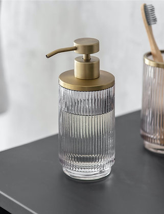 Ribbed Glass Soap Dispenser with Gold Trim