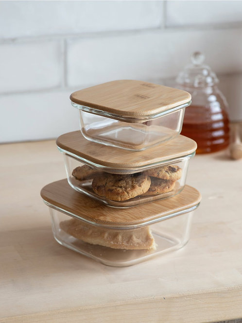Glass & Bamboo Set of 3 Storage Containers - Labels Optional