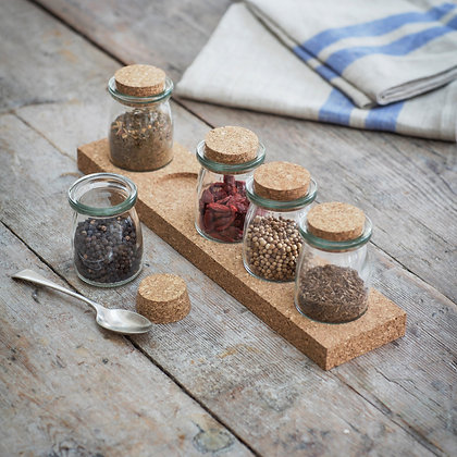 Set of 5 Glass & Cork Spice Jars on Cork Stand - Garden Trading
