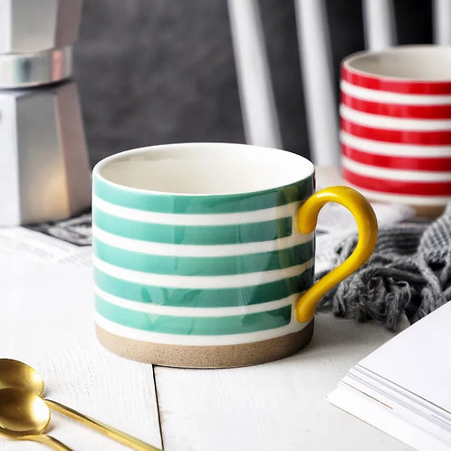 Striped Colour Ceramic Mug in Red or Green