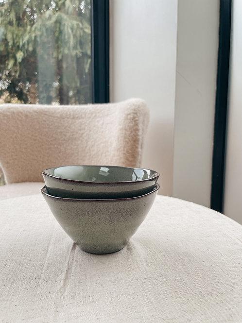 Speckled Stoneware Serving Bowl Set of 2 GREEN - Sagaform
