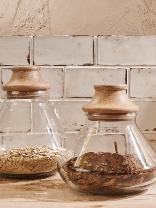 Mango Wood Deeka Storage Jar (2 Sizes) - Nkuku