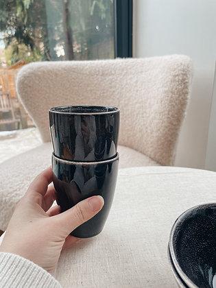 Speckled Stoneware Mug BLACK/BROWN Set of 2 - Sagaform