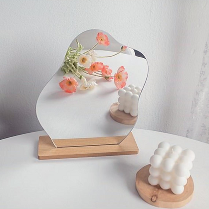 Aesthetic Waves Cosmetic Mirror with Wooden Base