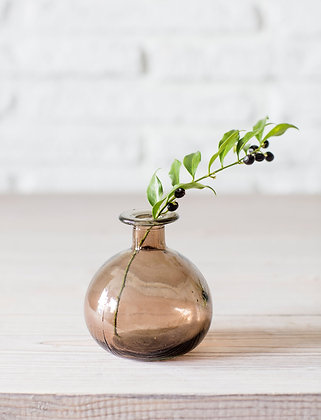 Brown Round Bud Vase Crafted from 100% Recycled Glass