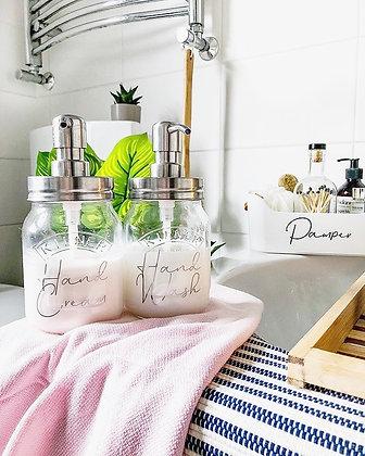 RYLE Refillable Glass Kilner Jar Soap Dispenser