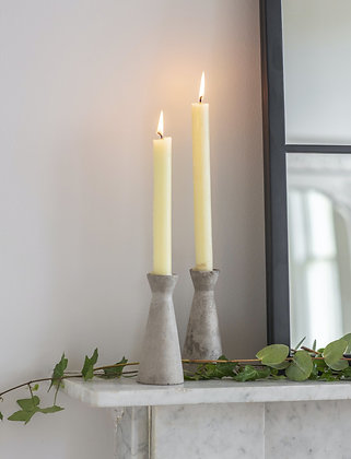 Cement Set of 2 Candle Holders