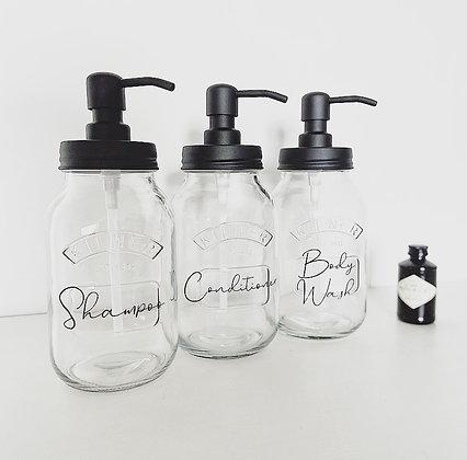 Kilner Jar 1 Litre Shampoo, Conditioner, Body Wash - Eco, Rustproof