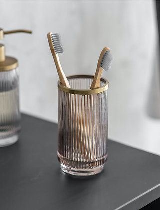 Ribbed Glass Toothbrush Holder with Brass Trim