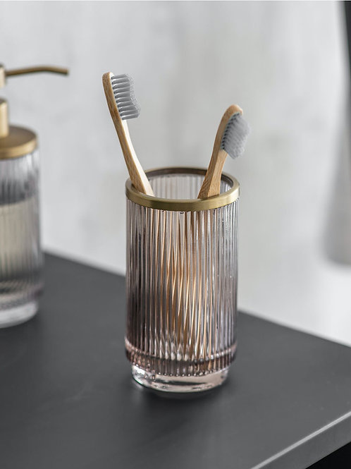Ribbed Smoked Glass Toothbrush Holder with Brass Trim