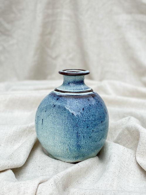 Blue Speckled Stoneware Stem Vase