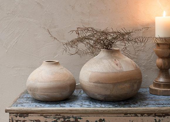 Mango Wood Round Decorative Vase - Nkuku