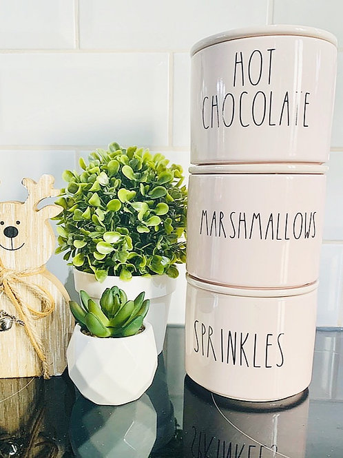 Set of 3 S/M Vinyl Labels - Hot Chocolate, Marshmallows, Sprinkles (Font Leah)