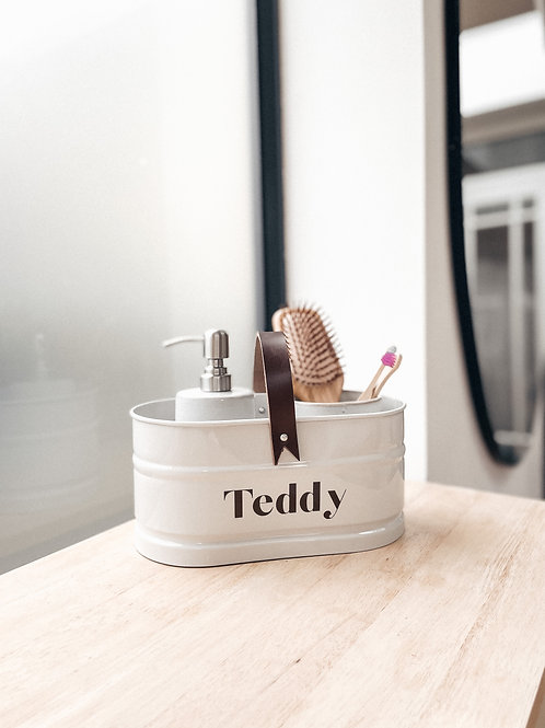 Personalised Pet Grooming Caddy with Leather Handle