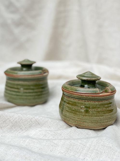 Green Stoneware Sugar Pot Set of 2