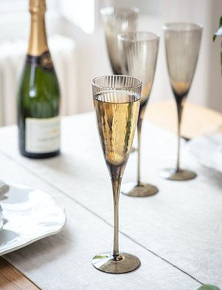 Smoke Glass Set of 4 Berkeley Champagne Flutes