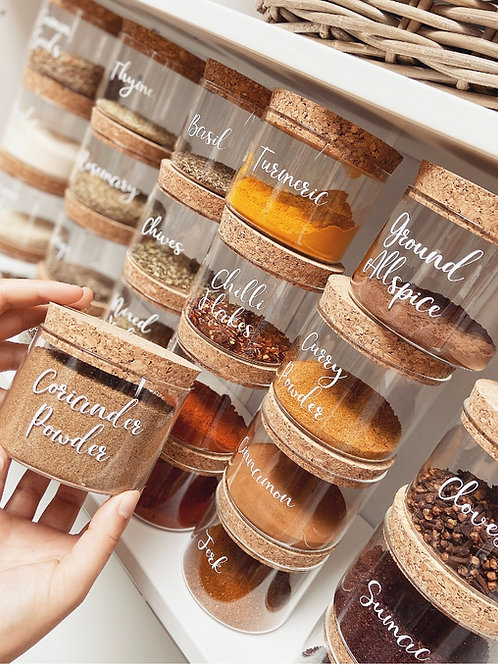 RYLE Labelled Spice Jar with Cork Lid - 370ml