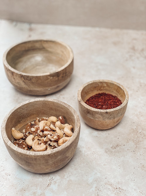 Mango Wood Set of 3 Serving Bowls