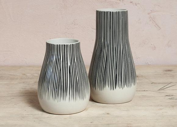 Metamba Lines Ceramic Vase - Nkuku