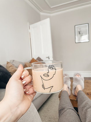 Female Portrait 400ml Glass Mug