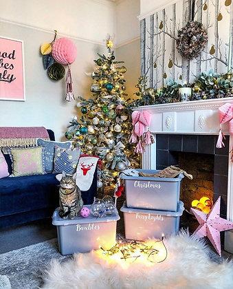 Set of 3 Large Vinyl Labels - Christmas, Baubles, Fairy Lights (Font Lucie)