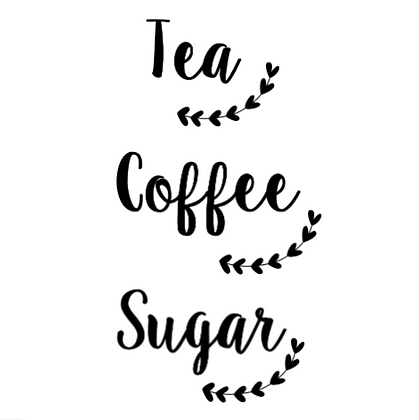 Tea, Coffee, Sugar (Leaf Branch Design) Vinyl Decals