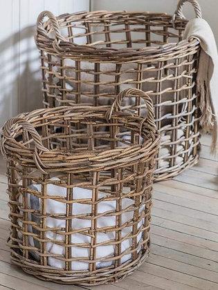 Set of 2 Large Open Weave Rattan Baskets