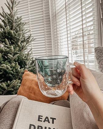3D Double Walled Glass Christmas Tree Mug