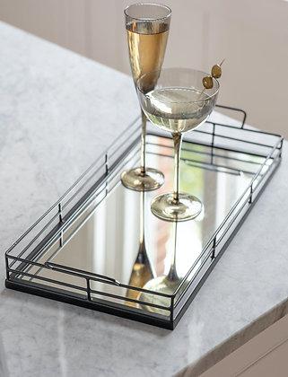Black Steel & Mirror Large Coffee Table Tray