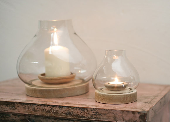 Naryla Mango Wood Lantern - Nkuku