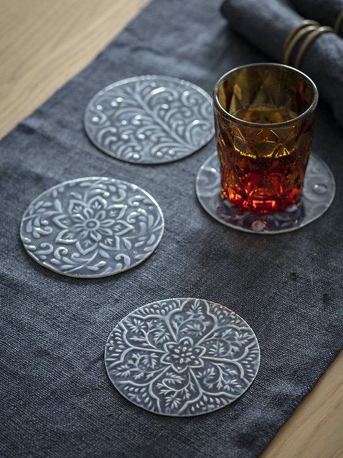 Set of 4 Fiskardo Coasters in Ink Blue - Aluminuim