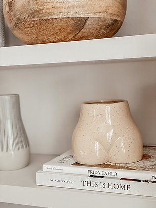 Speckled Ceramic Body Vase with Bamboo Base - EGGSHELL