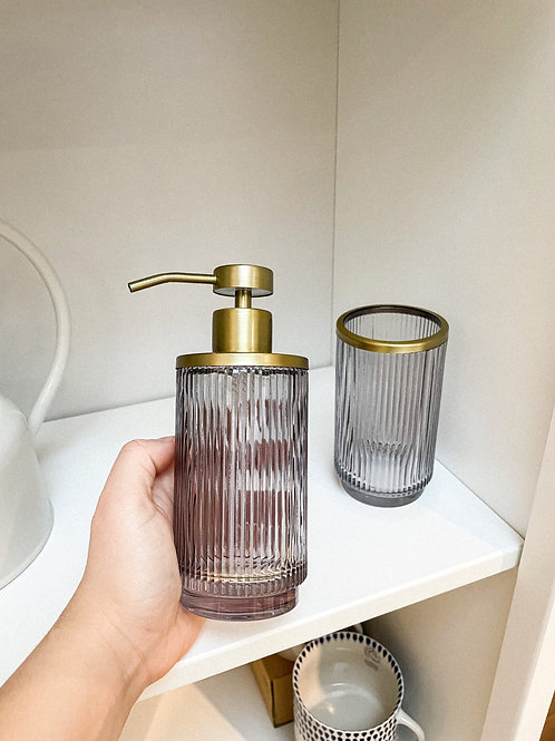 Ribbed Smoked Glass Soap Dispenser with Gold Trim