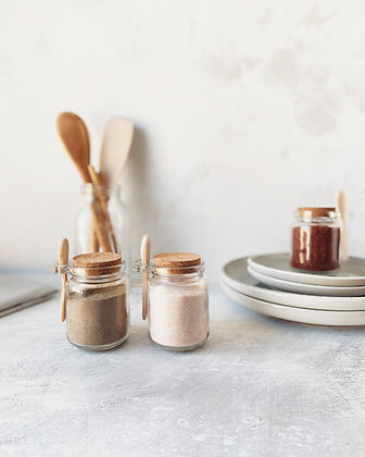 Set of 2 Glass & Cork Spice Sprinkle Jars with Wooden Spoon