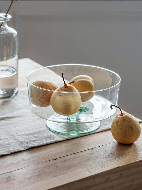 Recycled Glass Fruit Bowl on Stand